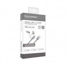 First Champion 3in1 microUSB Cable with Lightning & Type C Adaptor - 100cm - Grey