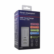 First Champion USB Travel Charger - Type C - UTC305C - 5.4A