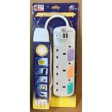 UKase 英特 3插位拖板連2USB充電插位