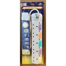UKase 英特 5插位拖板連2USB充電插位